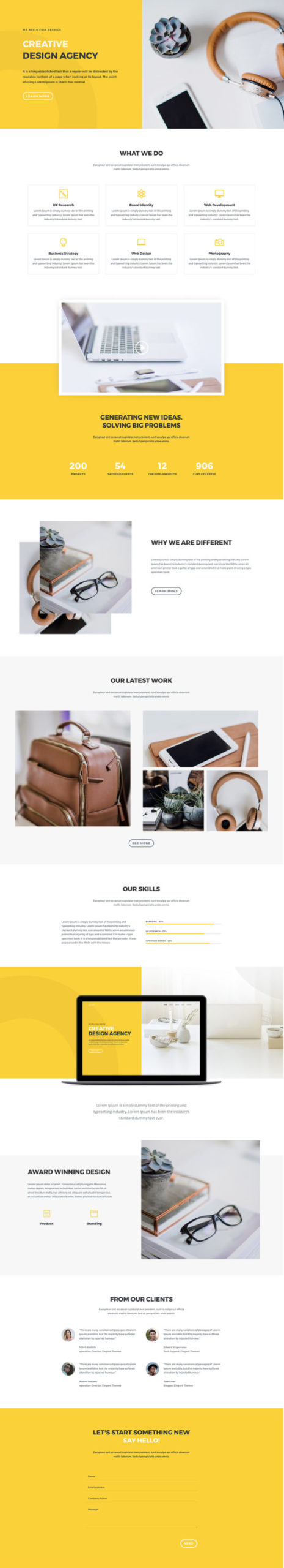 Design Agency Home Page - full page