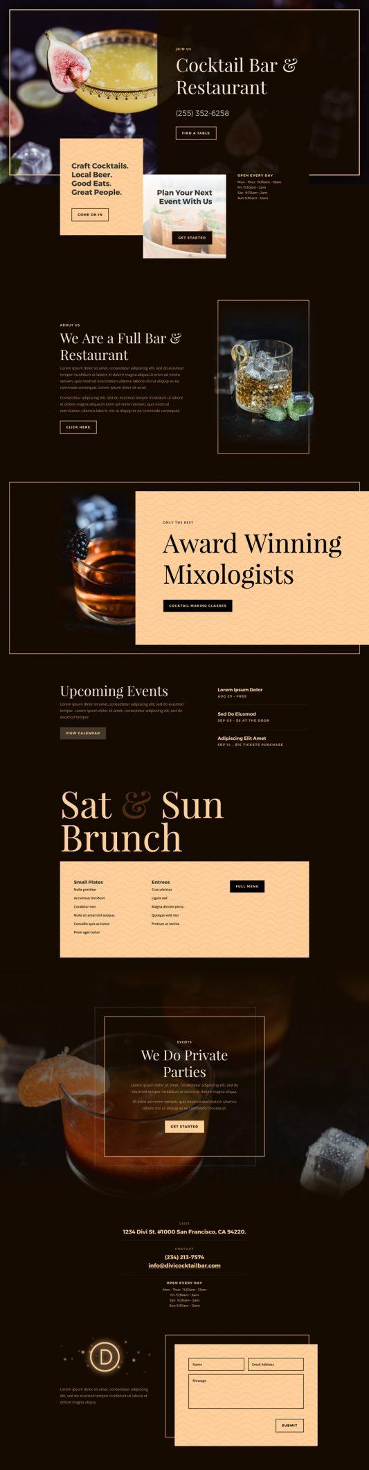 Bar Landing Page