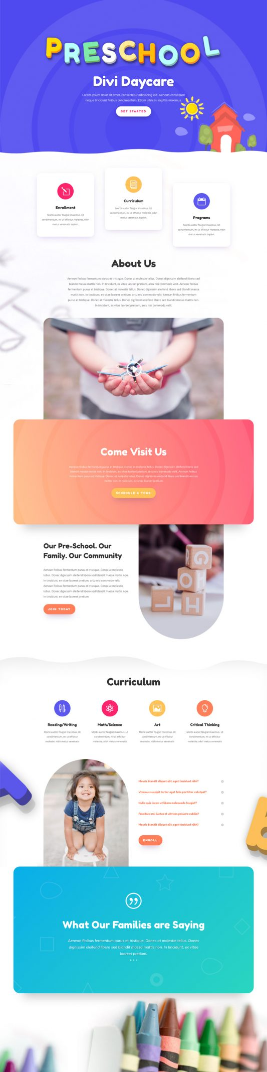 Day Care Landing Page