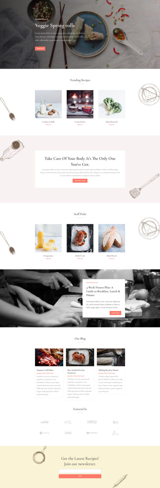 Food Recipes Landing Page