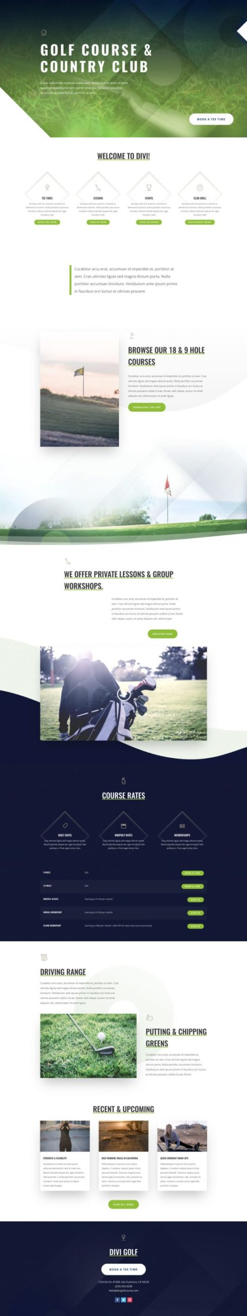 Golf Course Landing Page
