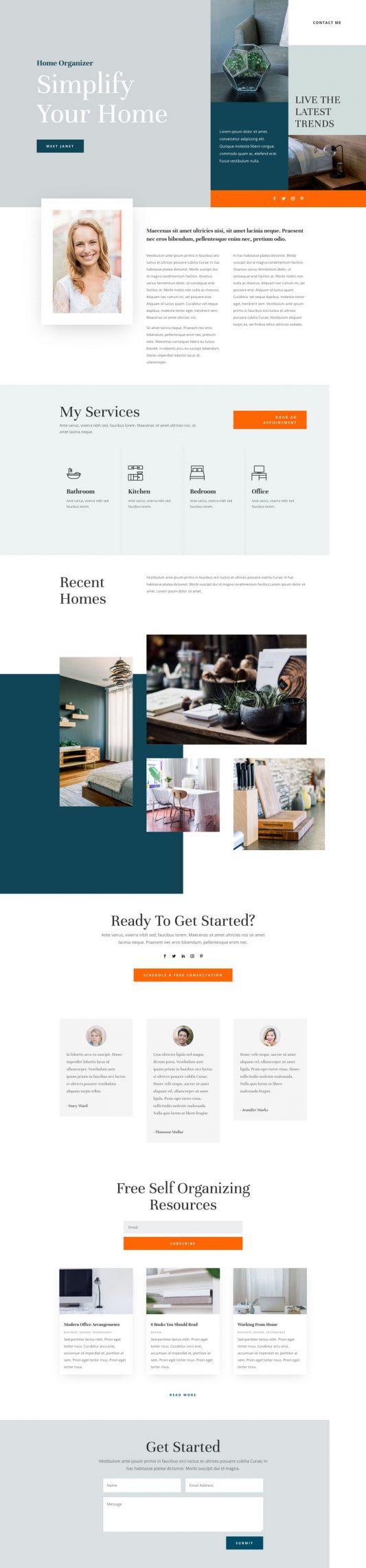 Home Organizer Landing Page