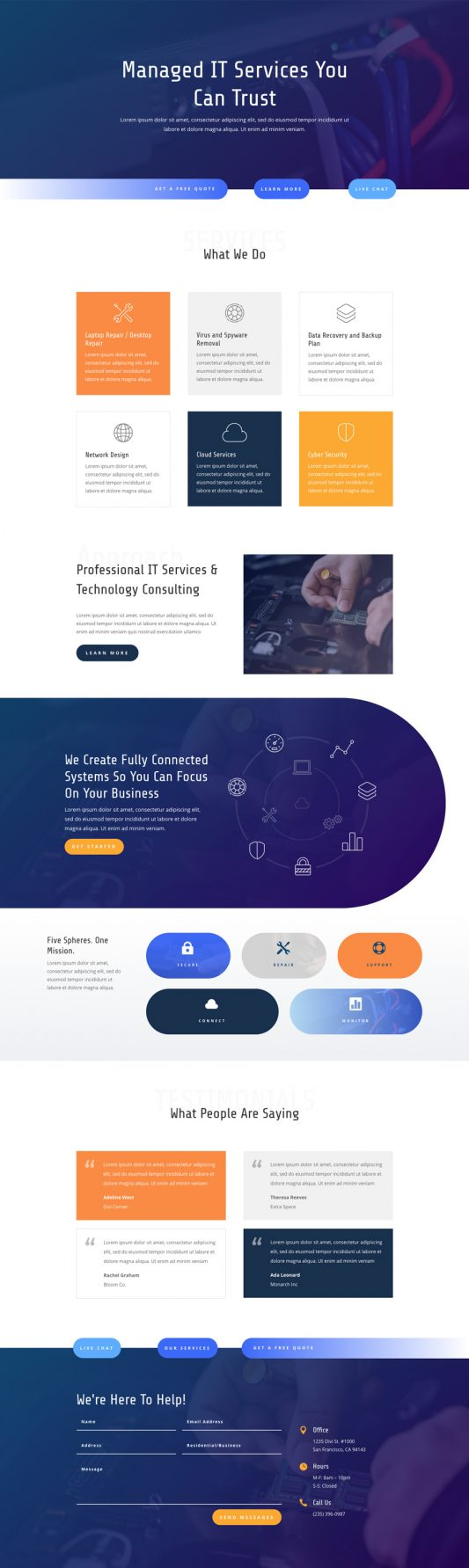 IT Services Landing Page