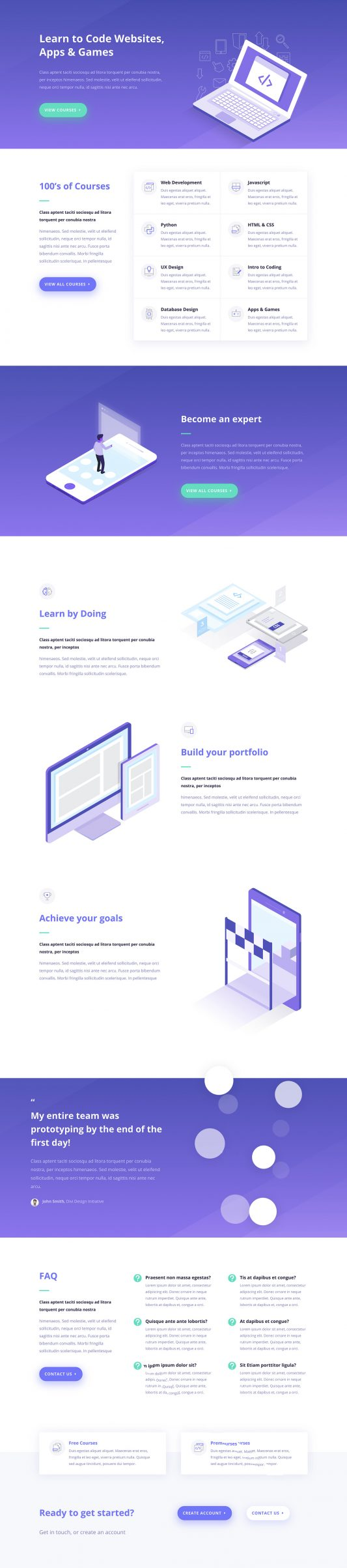 Learning Management Landing Page