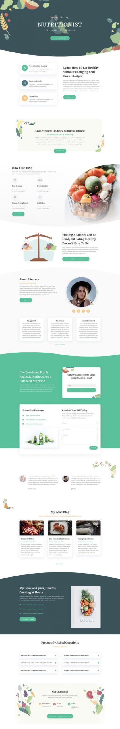 Nutritionist Landing Page