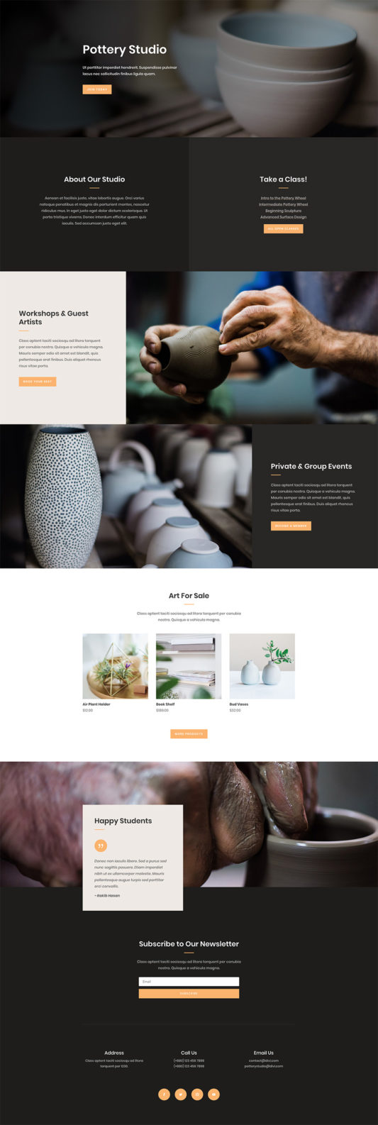 Pottery Studio Landing Page