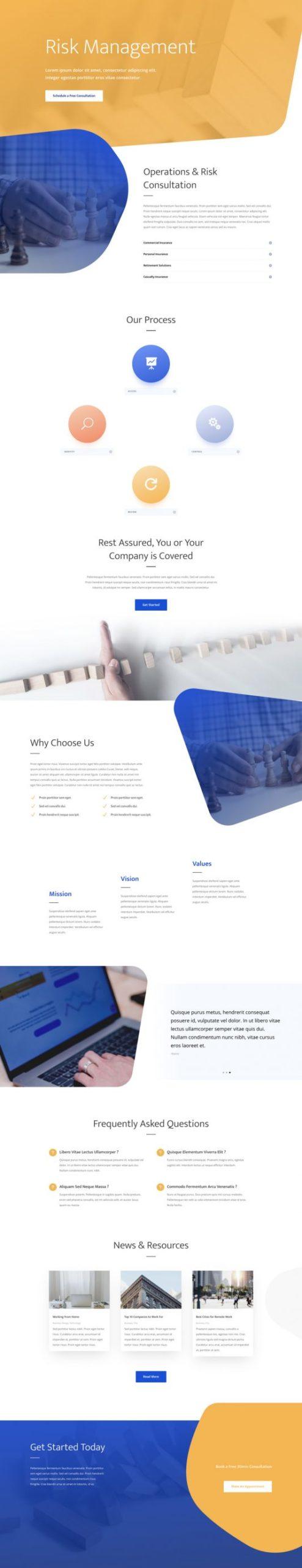 Risk Management Landing Page