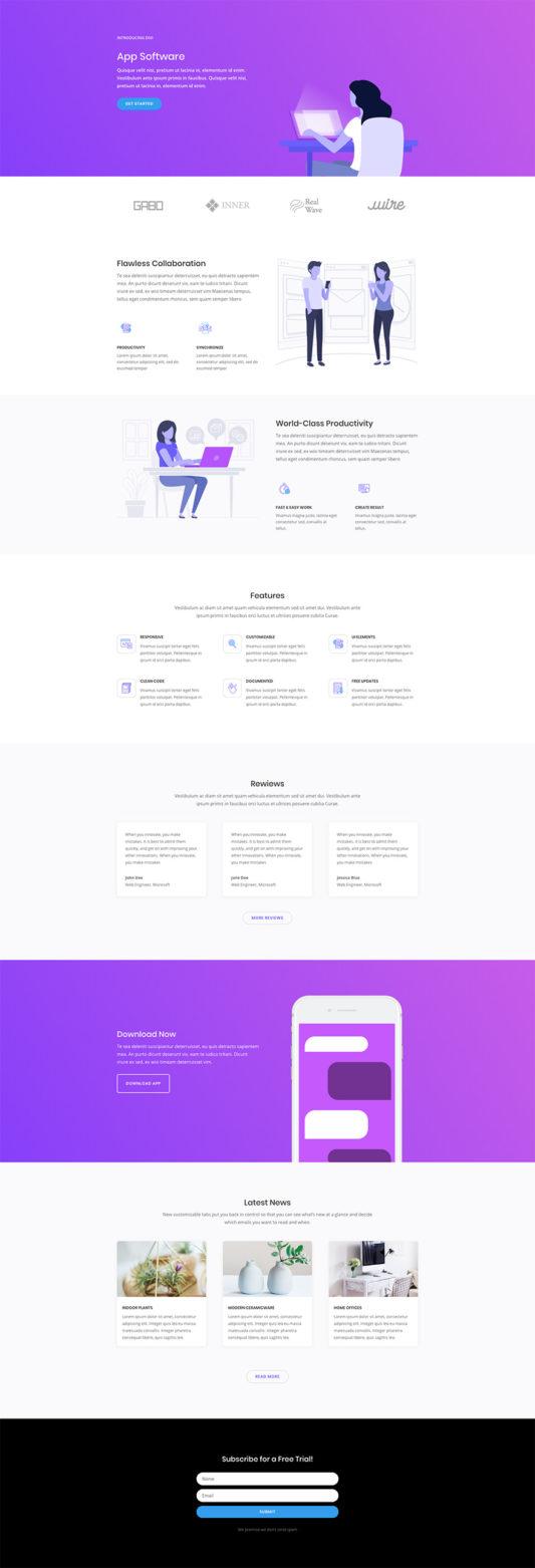 Software Marketing Landing Page