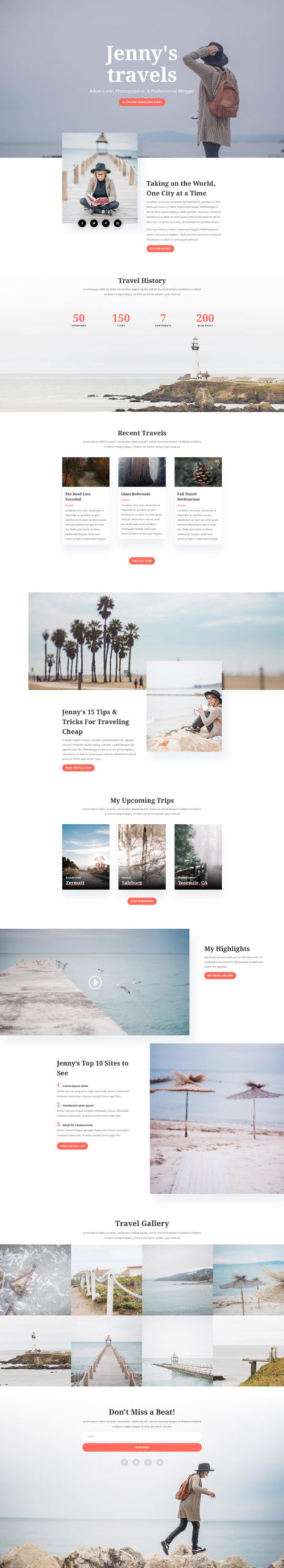 Travel Blog Landing Page