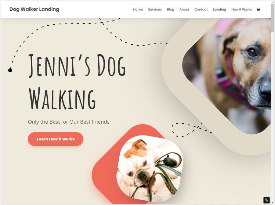 Dog Walker Website Template Laptop View